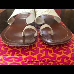 befc92eaf083 Tory Burch Shoes - Tory burch powder coated Melinda toe ring slide